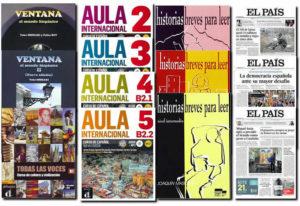 スペイン語学習教材、基礎文法VENTANA1,2 応用文法書籍,会話朗読教材、スペイン語新聞EL PAIS