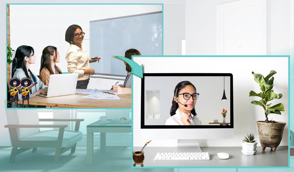 当校について、学校時代のレッスン風景とオンラインレッスンの風景
