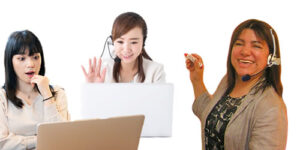 スペイン語オンラインレッスンで体験レッスンを受講する生徒と講師の画像
