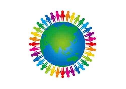 子供が手を繋ぐ地球儀