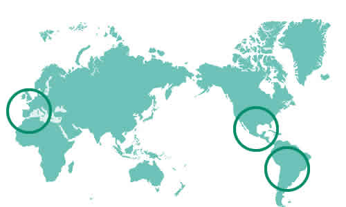 世界地図『スペイン、中米、南米』