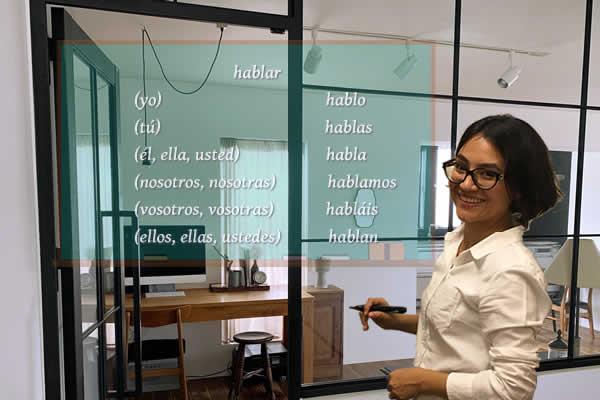 メキシコ人のカロリーナ先生がスペイン語のser動詞を指さす写真