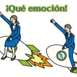 スペイン語の感動や感激をあれわす。ロケットに乗る2人
