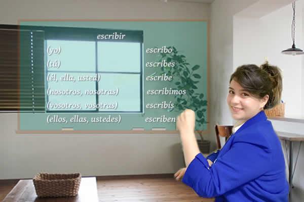 ビビアナ先生がスペイン語のescribir動詞を指さす写真